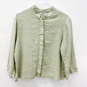 Brynn Walker Linen Top Button Sage Green L